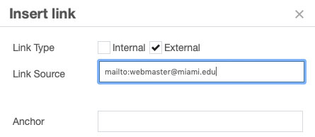 Insert a link to an email address